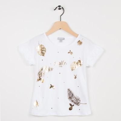 Tee-shirt blanc avec motif plume et feuille