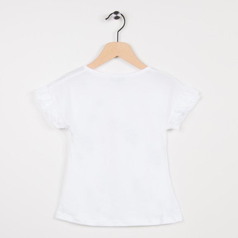 8ad54a71926 Tee-shirt blanc avec motif plume et feuille - Miniman Shop