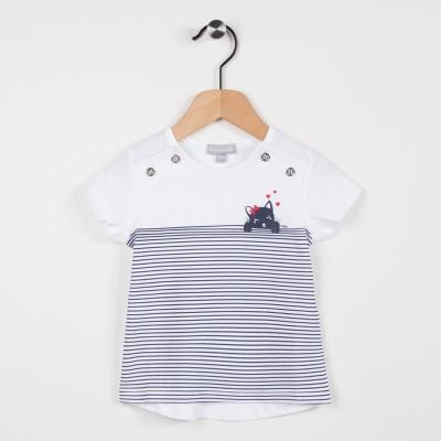 Tee-shirt blanc avec motif chat