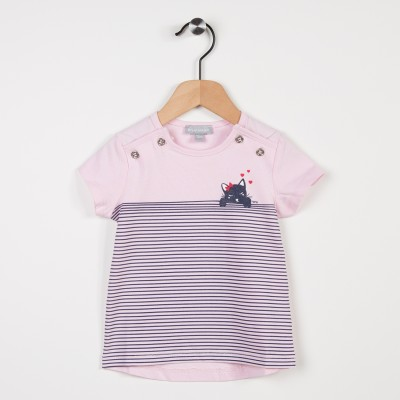 Tee-shirt rose avec motif chat