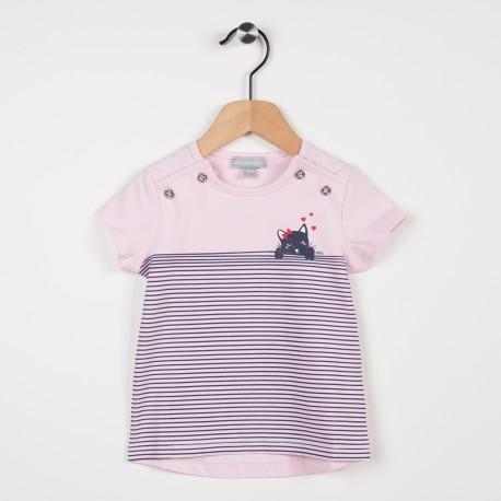 Tee-shirt rose avec motif chat