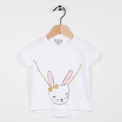 Tee-shirt blanc avec motif lapin
