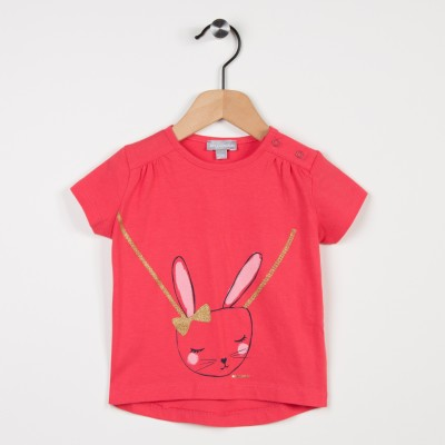 Tee-shirt rose avec motif lapin