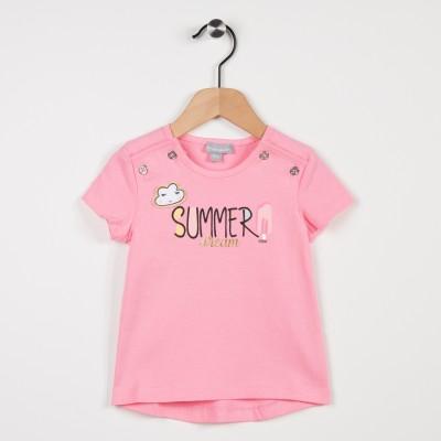 Tee-shirt rose avec motif imprimé