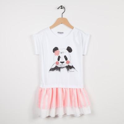 Robe bi-matière avec motif panda