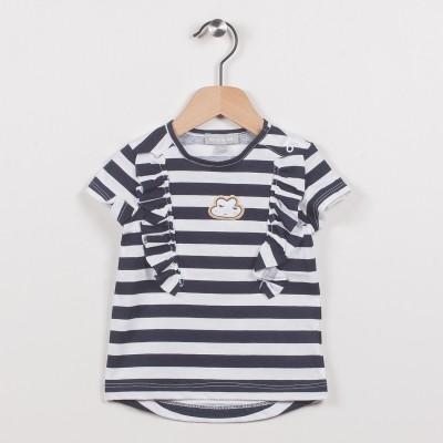 Tee-shirt rayé avec volants, motif nuage