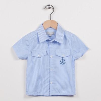 Chemise rayée bleu ciel avec poches
