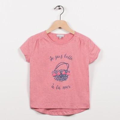 Tee-shirt rose avec motif esprit plage