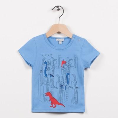 Tee-shirt bleu avec motif dinosaures