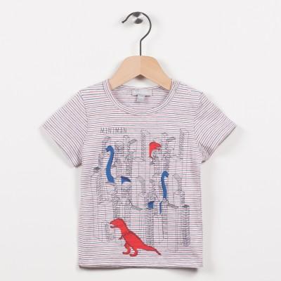 Tee-shirt gris avec motif dinosaures