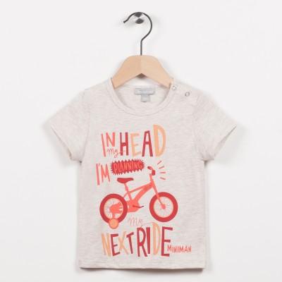 Tee-shirt beige avec motif vélo