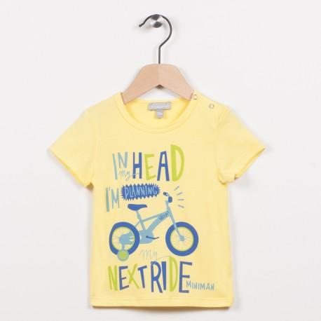Tee-shirt jaune avec motif vélo