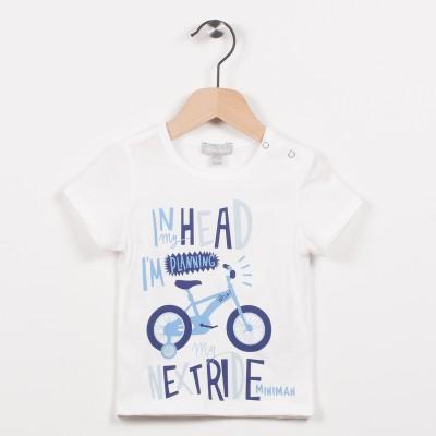 Tee-shirt écru avec motif vélo