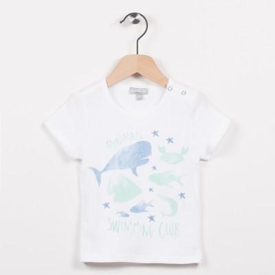 Tee-shirt blanc avec motif esprit aquatique
