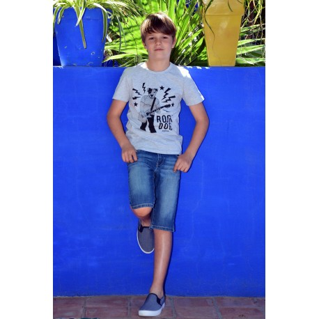 Tee-shirt gris chiné motif tendance side-car et Bermuda en jean slim