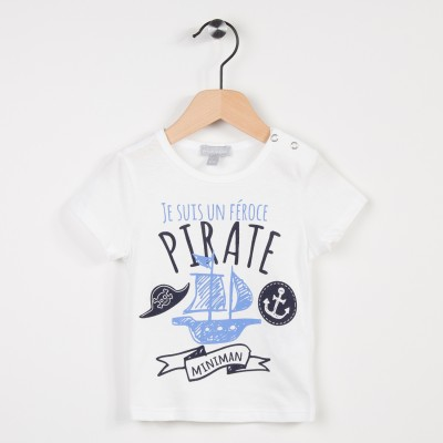 Tee-shirt blanc avec motif pirate