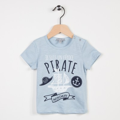 Tee-shirt bleu ciel avec motif pirate