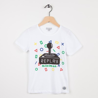 Tee-shirt blanc motif esprit jeu vidéo
