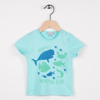 Tee-shirt turquoise avec motif esprit aquatique
