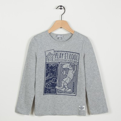 Tee-shirt avec motif esprit streetwear - Gris clair