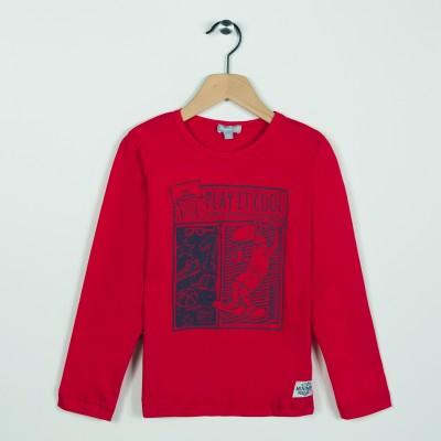 Tee-shirt avec motif esprit streetwear - Rouge fonce