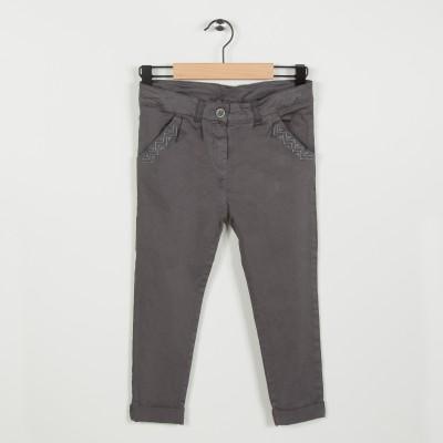 Pantalon avec broderie  - Gris fonce
