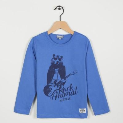 Tee-shirt avec motif esprit rock - Bleu grise