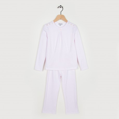 Pyjama en maille rayée - Rose pale