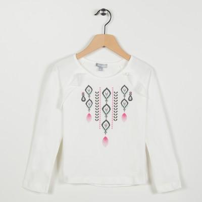 Tee-shirt avec motif ethnique - Ecru
