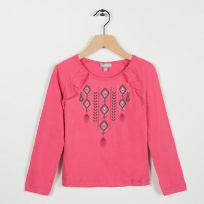 Tee-shirt avec motif ethnique - Rose saumon