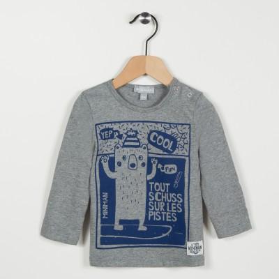 Tee-shirt gris avec motif ours - Gris clair