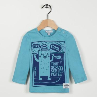 Tee-shirt bleu avec motif ours - Turquoise