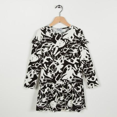 Robe en maille imprimée - Noir