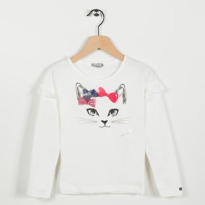 Tee-shirt avec motif chat - Ecru