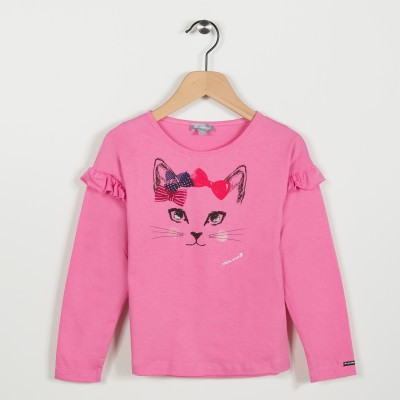 Tee-shirt avec motif chat - Vieux Rose