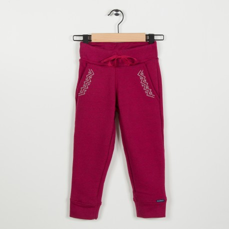 Pantalon molleton avec broderie - Framboise