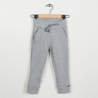 Pantalon molleton avec broderie - Gris clair chine