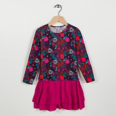 Robe bi-matière avec jersey imprimé - Fuchsia