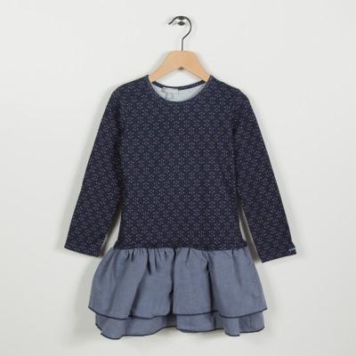 Robe bi-matière avec jersey imprimé - Indigo