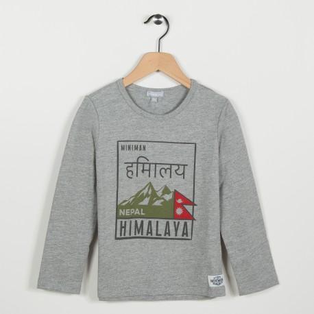 Tee-shirt gris avec motif imprimé  - Gris clair