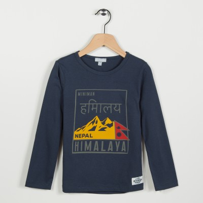 Tee-shirt marine avec motif imprimé - Marine