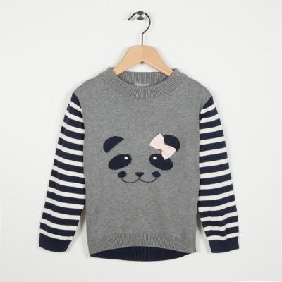 Pull avec motif panda - Gris clair