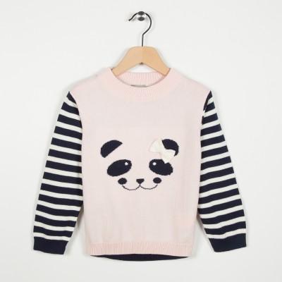 Pull avec motif panda - Rose pale