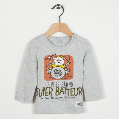 Tee-shirt gris avec motif - Gris clair
