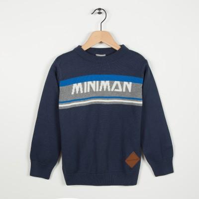 Pull bleu marine en coton - Marine