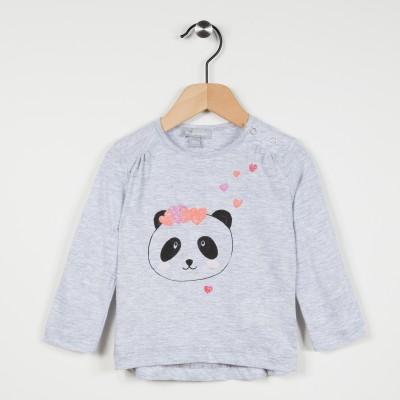 Tee-shirt gris avec motif panda - Gris clair