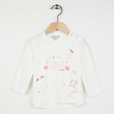 Tee-shirt écru avec motif imprimé - Ecru