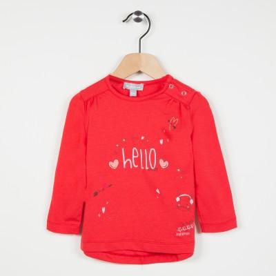 Tee-shirt rouge avec motif imprimé - Vermillon