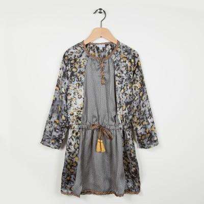 Robe imprimée avec volants - Gris fonce