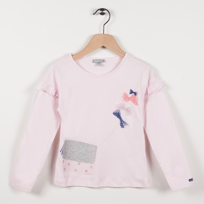 Tee-shirt avec volants - Rose pale